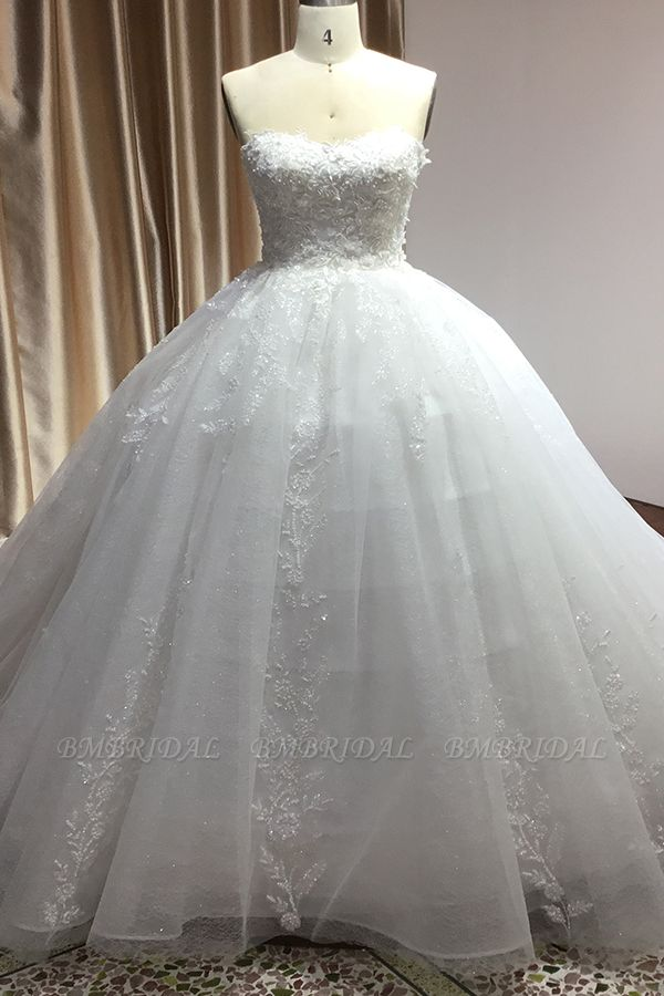 BMbridal Ball Gown Sweetheart Lace Wedding Dress