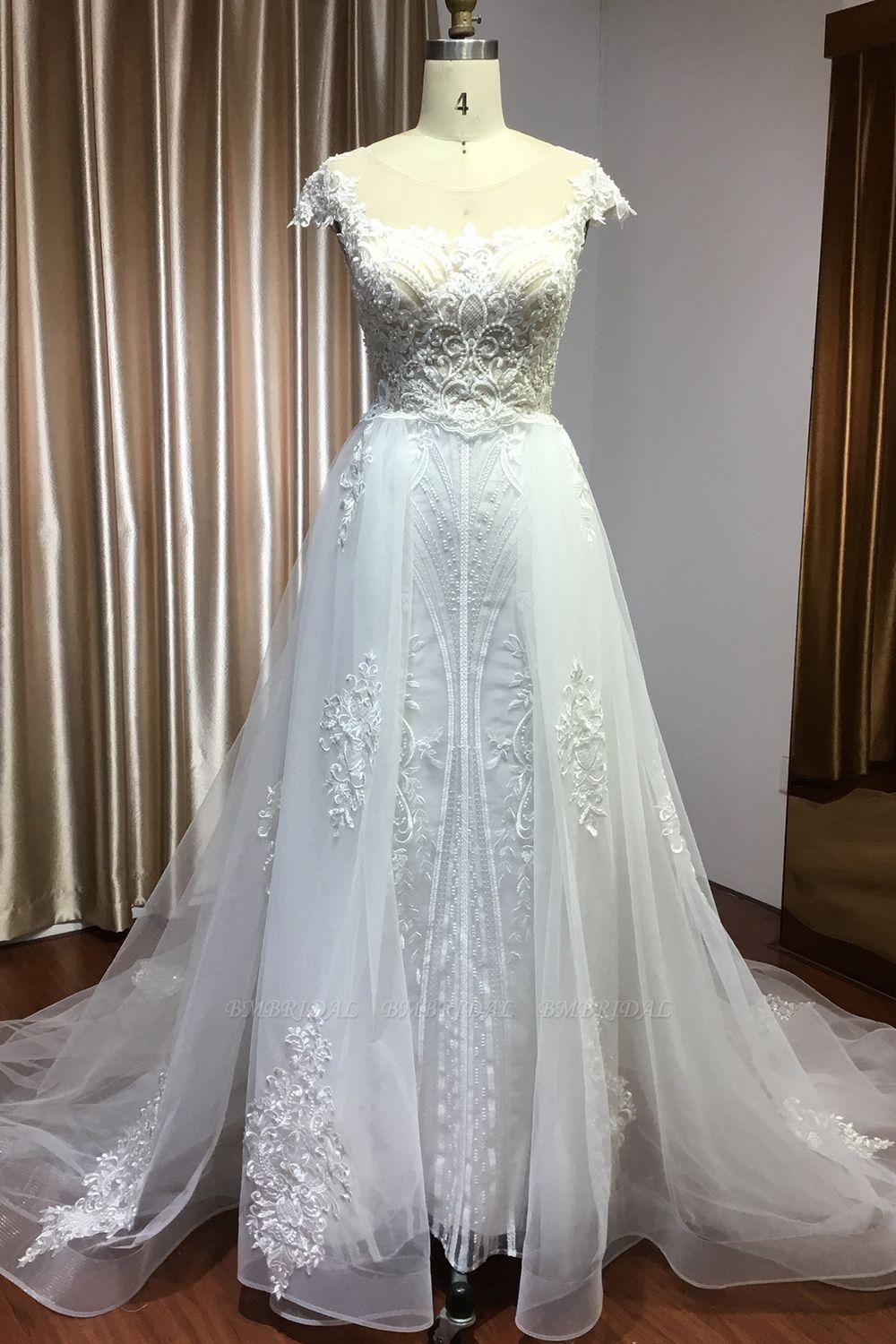 BMbridal Detachable Lace Mermaid Wedding Dress With Cap Sleeves