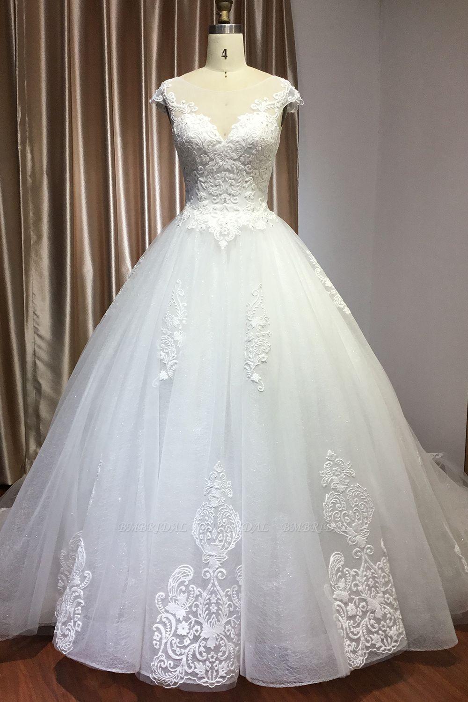 BMbridal Cap Sleeve Lace Wedding Dress Princess Bridal Gown Lace-up