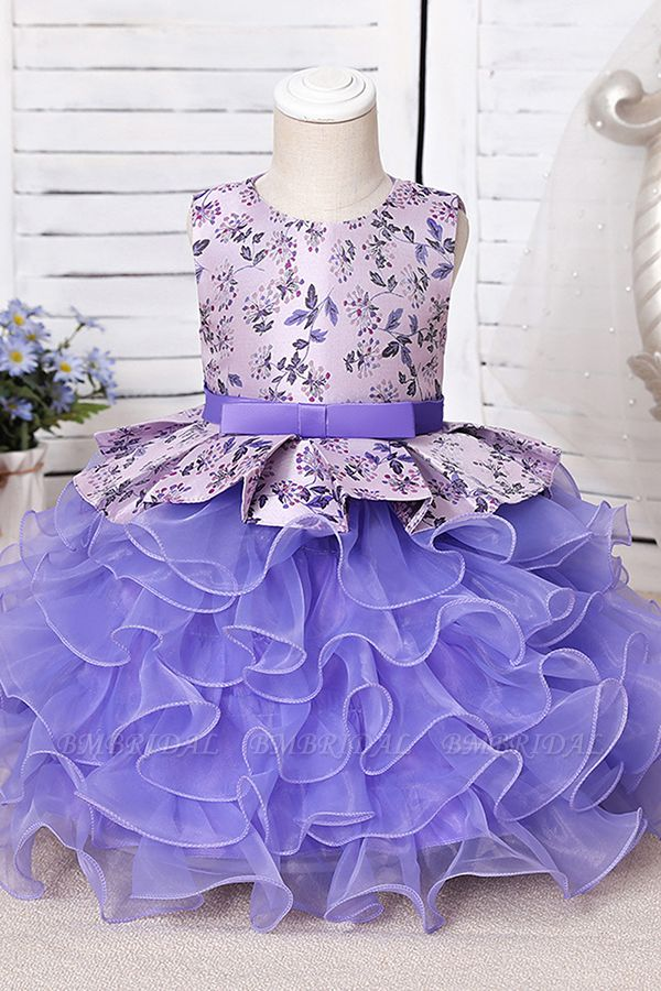 BMbridal Tulle Purple Lovely Flower Girl Dress