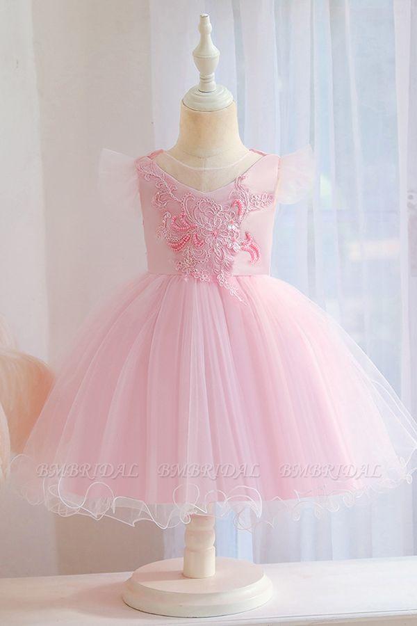 BMbridal Lovely Pink Tulle Flower Girl Dress