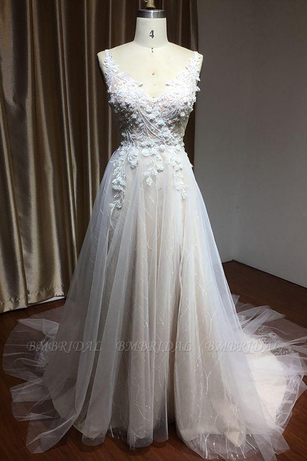 BMbridal V-Neck Sleeveless Lace Wedding Dress With Split
