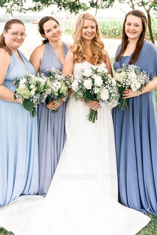 BMbridal Convertible Dusty Blue Spandex Bridesmaid Dress One Size