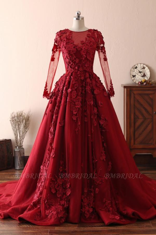 BMbridal Elegant Long Sleeve Burgundy Prom Dress Lace Evening Gowns