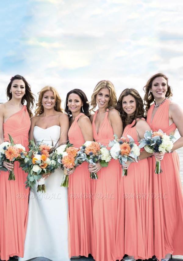 BMbridal Coral Multiway Ruffles A-Line Bridesmaid Dresses Long