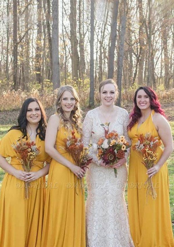 BMbridal Mustard Multiple A-Line Bridesmaid Dresses Long