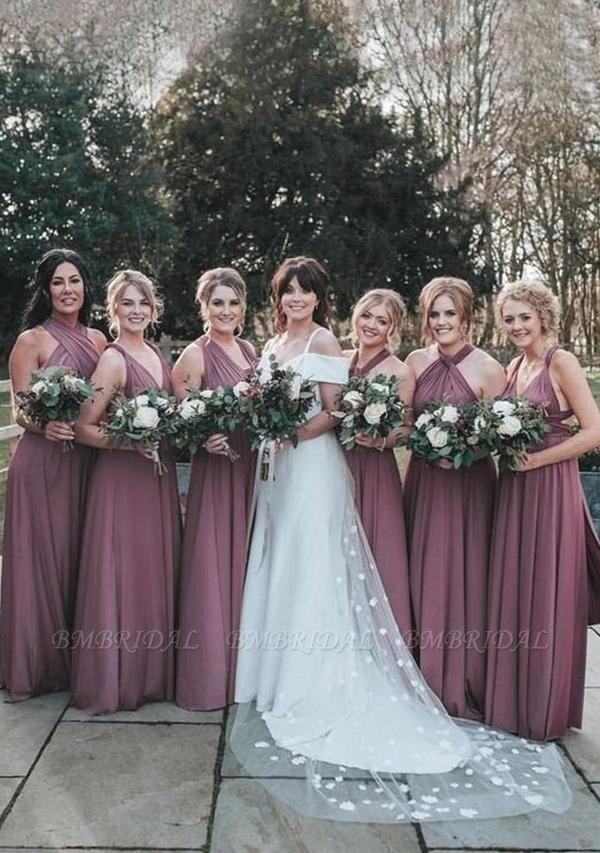 BMbridal Purple Multiway Infinity Ruffles A-Line Bridesmaid Dresses