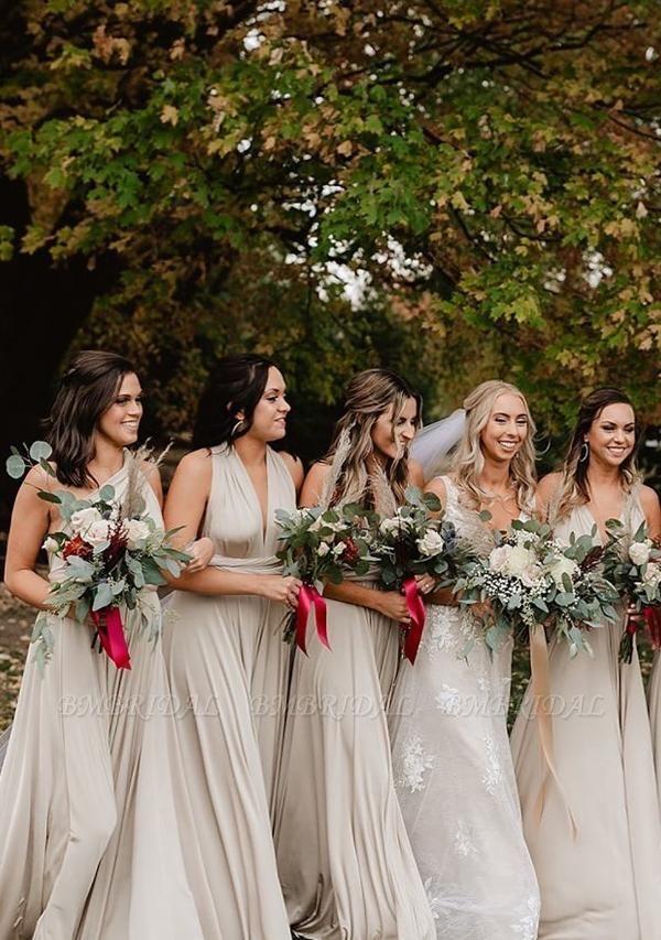 BMbridal Silver Multiple A-Line Bridesmaid Dresses Long