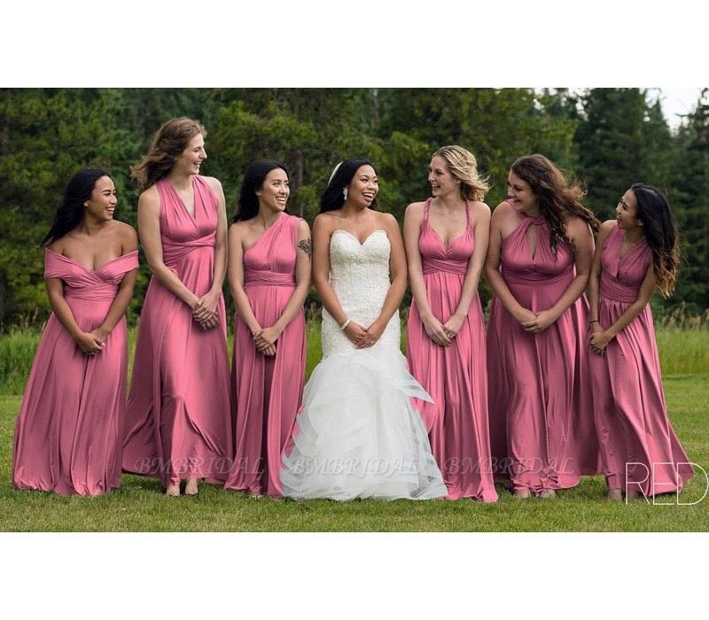 BMbridal Dusty Pink Ruffles Multiway Infinity Bridesmaid Dresses Long