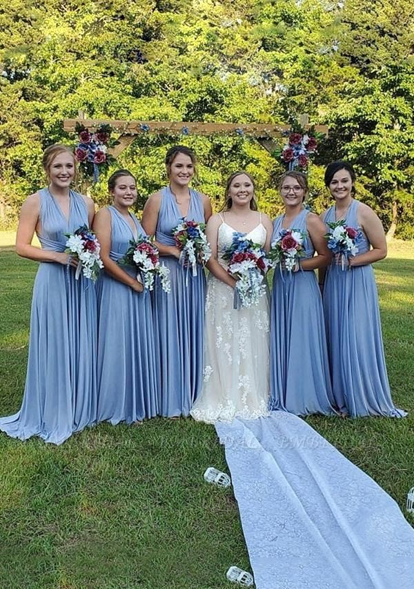 BMbridal Light Blue Multiway Ruffles Infinity A-Line Bridesmaid Dresses