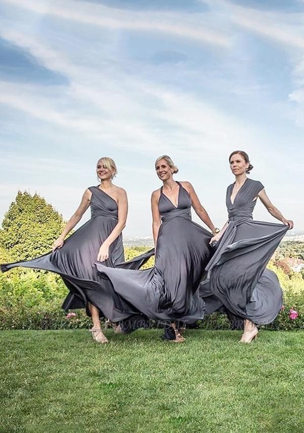 BMbridal Silver Multiple Ruffles A-Line Bridesmaid Dresses