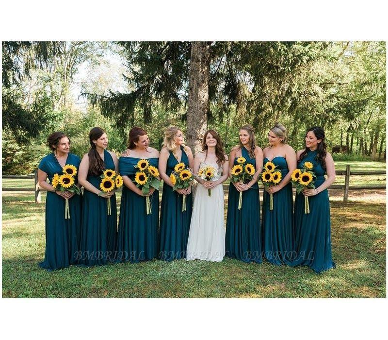 BMbridal Sleeveless Dusty Navy Multiway Infinity Bridesmaid Dress