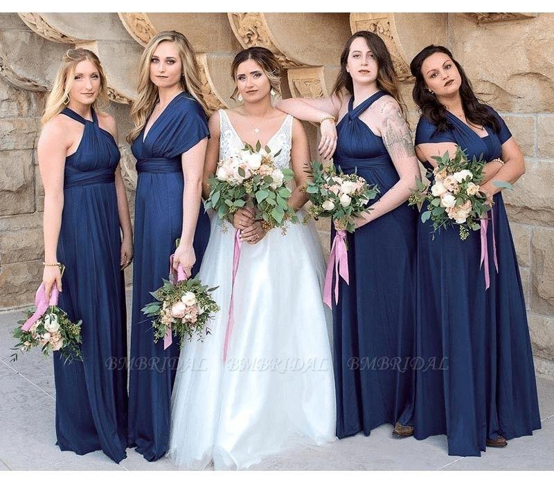 BMbridal Dark Navy Multiway Infinity A-Line Bridesmaid Dress