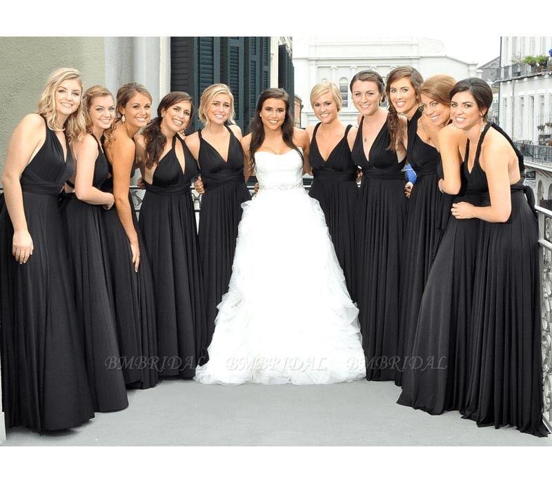 BMbridal Black Multiway Infinity Ruffles Bridesmaid Dresses