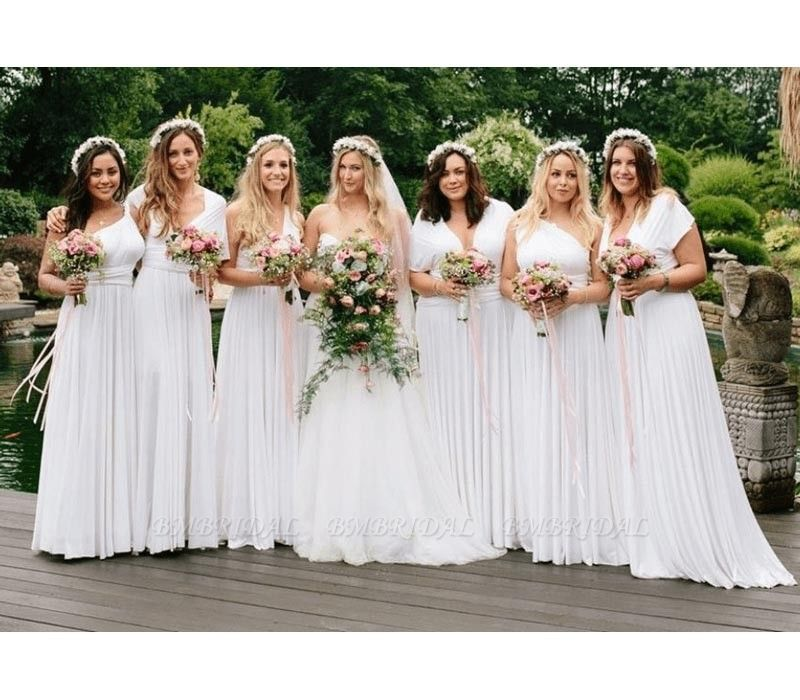 BMbridal White Multiway Infinity Ruffles Bridesmaid Dresses
