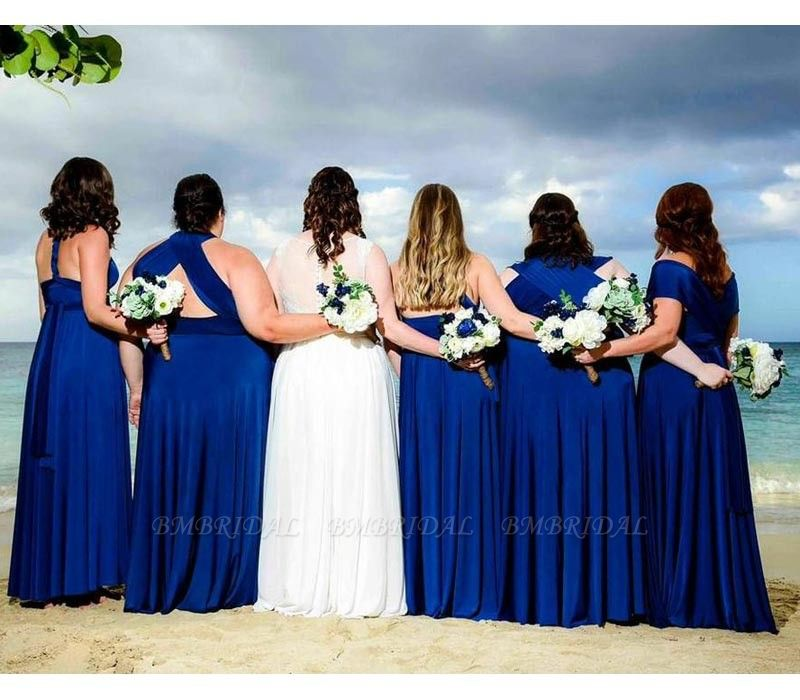 BMbridal Sleeveless Dark Blue Multiway Infinity A-Line Bridesmaid Dress