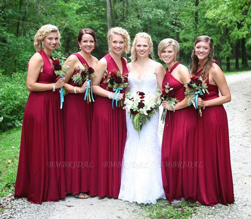 BMbridal Burgundy Multiway Infinity Ruffles A-Line Bridesmaid Dresses