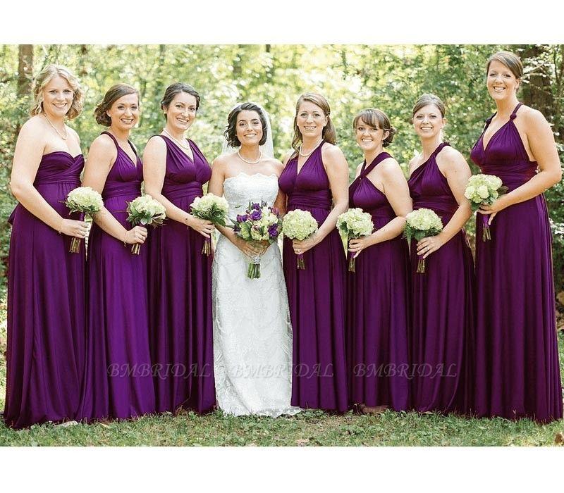 BMbridal Sleeveless Purple Multiway Infinity Bridesmaid Dress