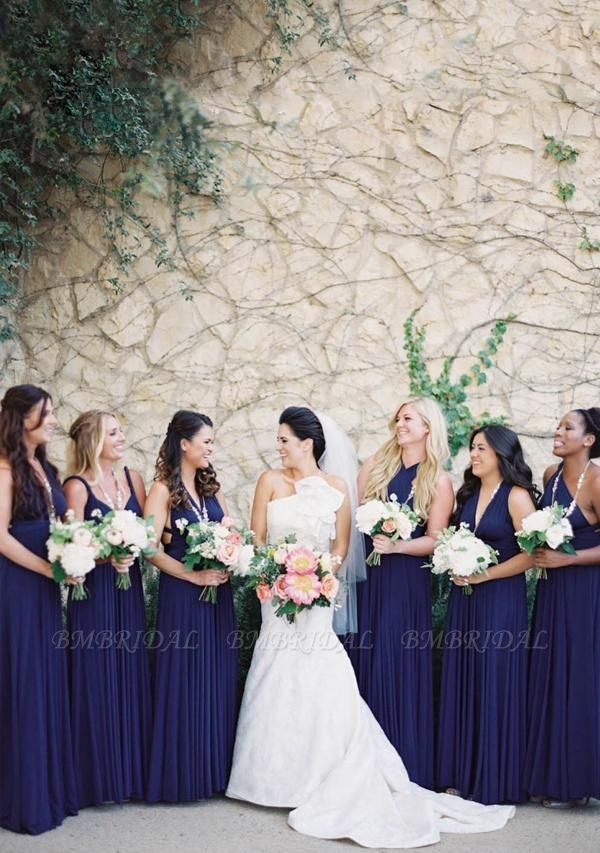 BMbridal Ink Blue Multiway Ruffles Infinity A-Line Bridesmaid Dresses