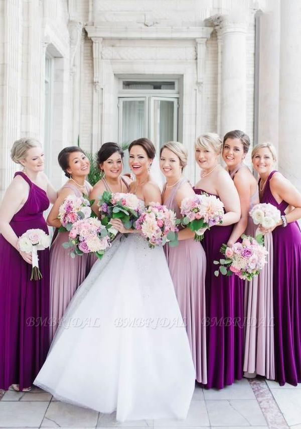 BMbridal Purple Multiple Infinity Bridesmaid Dresses Long