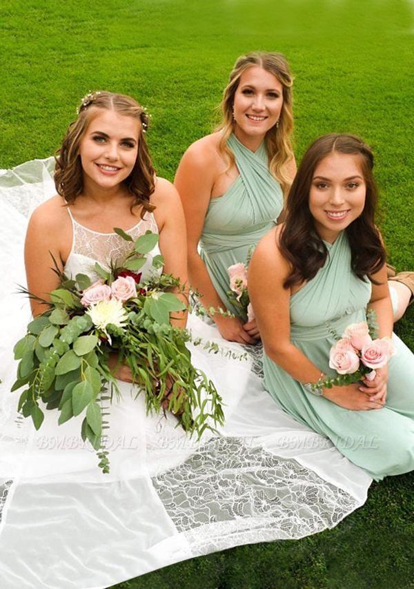 BMbridal Light Green Multiway Ruffles Infinity A-Line Bridesmaid Dresses