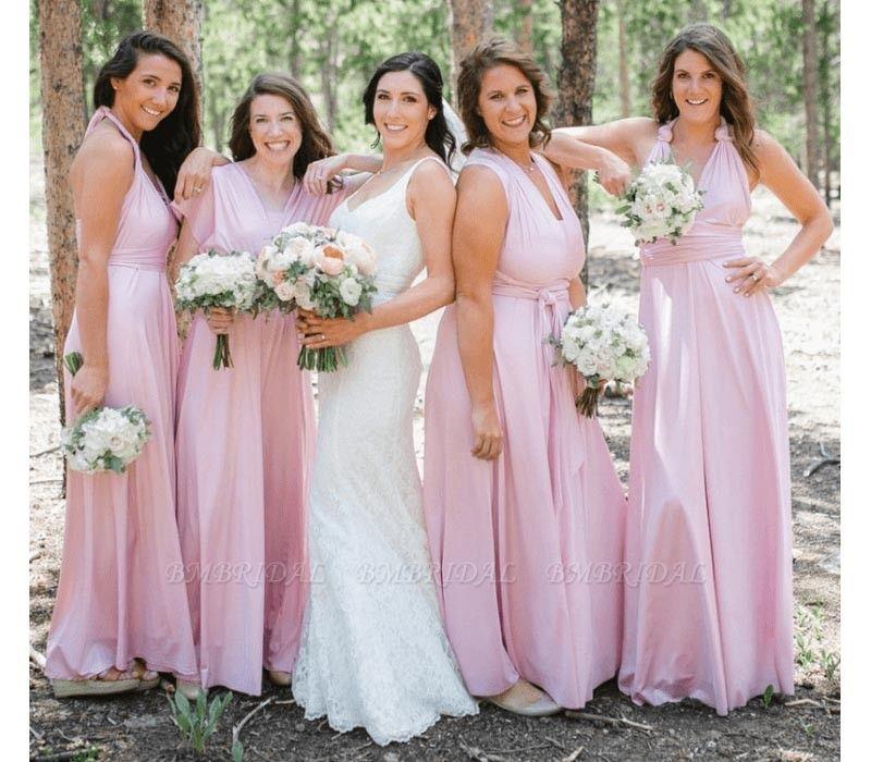 BMbridal Blushing Pink Ruffles Multiway Infinity Bridesmaid Dresses Long