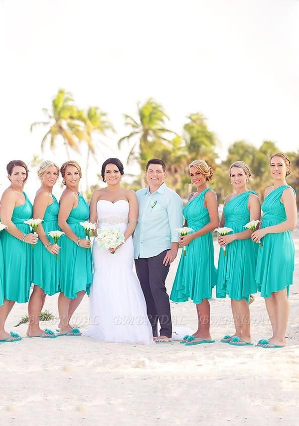 BMbridal Mint Green Multiway Ruffles Infinity A-Line Bridesmaid Dresses