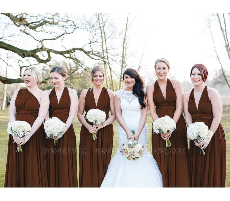 BMbridal Burgundy Multiway Infinity Ruffles Bridesmaid Dresses