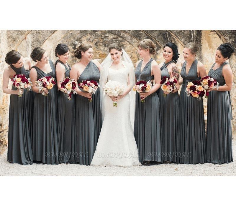 BMbridal Dark Gray Multiway Infinity A-Line Bridesmaid Dress