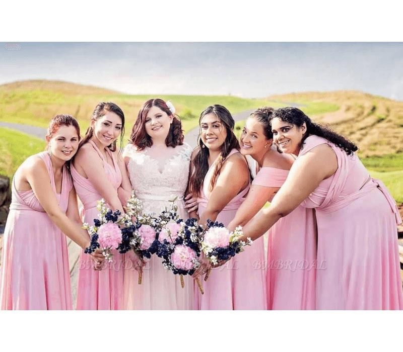 BMbridal Blushing Pink Ruffles Multiway Infinity A-Line Bridesmaid Dresses