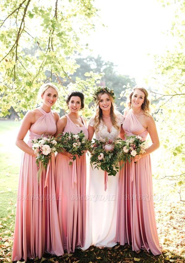 BMbridal Blushing Pink Multiway Ruffles A-Line Bridesmaid Dresses Long