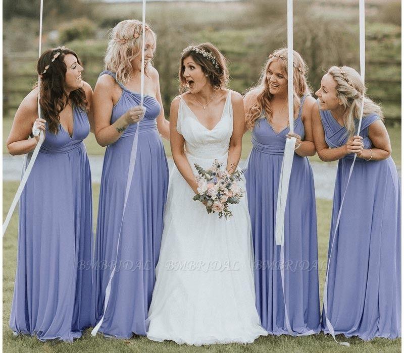 BMbridal Light Purple Ruffles Multiway Infinity A-Line Bridesmaid Dresses