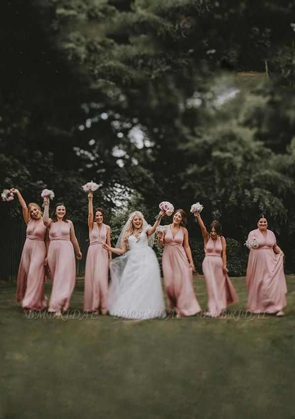BMbridal Blushing Pink Multiway Ruffles Infinity A-Line Bridesmaid Dresses