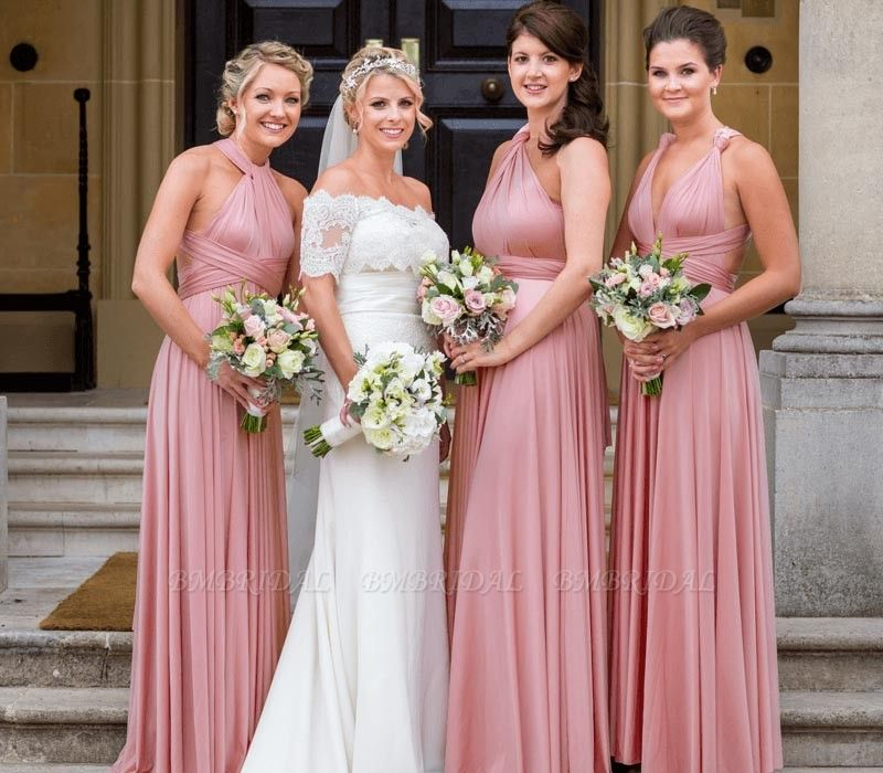 BMbridal Dusty Pink Ruffles Multiway Infinity A-Line Bridesmaid Dresses