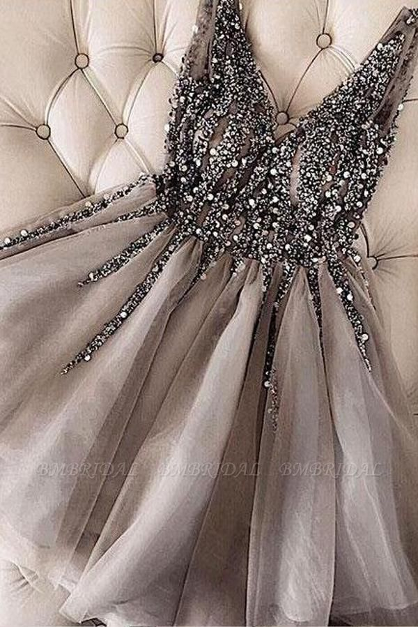 BMbridal V-Neck Sleeveless Short Homecoming Party Dress With Crystal Appliques