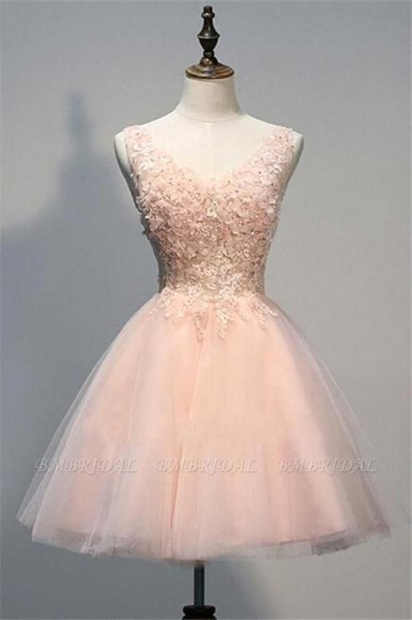 BMbridal Lovely Sleevelss Appliques Tulle Mini Party Dress