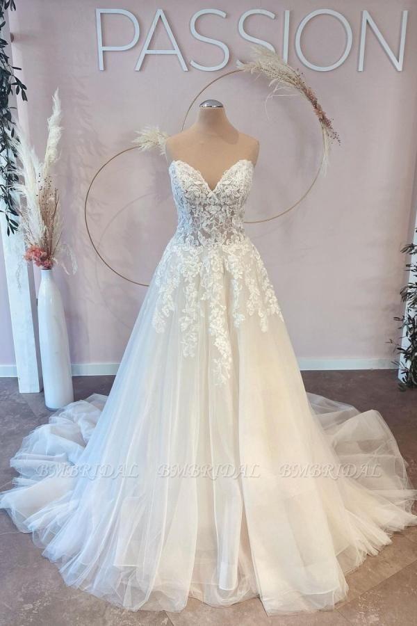 BMbridal V-Neck Sleeveless Lace Wedding Dress Long On Sale