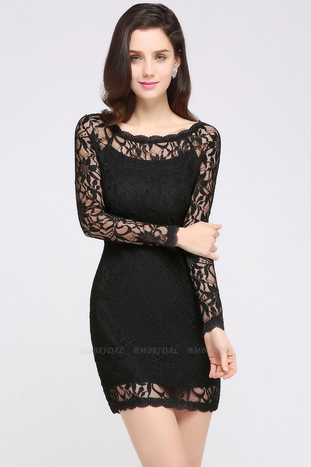BMbridal Sexy Black Lace Long Sleeves Mermaid Prom Dress