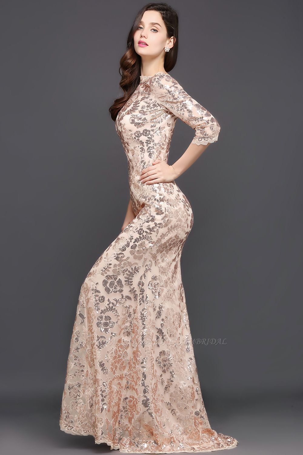 Gorgeous Long Sleeve Sequins Prom Dress Mermiad Long Evening Party Gowns
