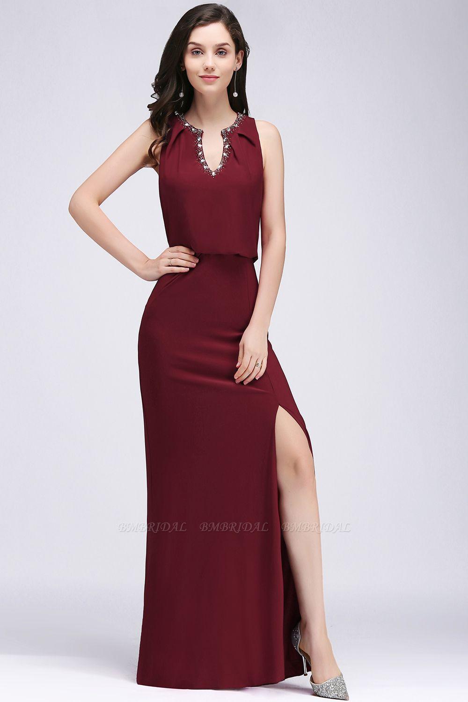 BMbridal Front-split Crystal Floor-length V-neck Sleeveless Burgundy A-line Evening Dress