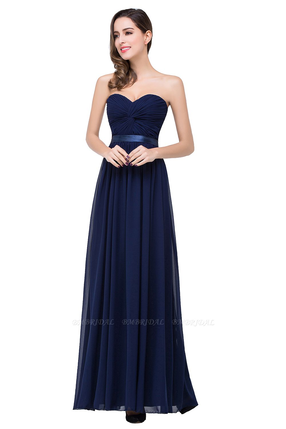 BMbridal Affordable Chiffon Strapless Navy Bridesmaid Dress with Ruffle In Stock
