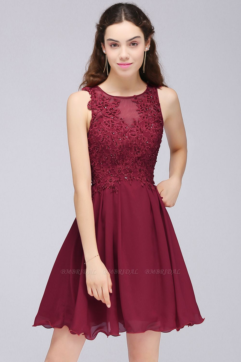 BMbridal Burgundy A-line Homecoming Dress with Lace Appliques