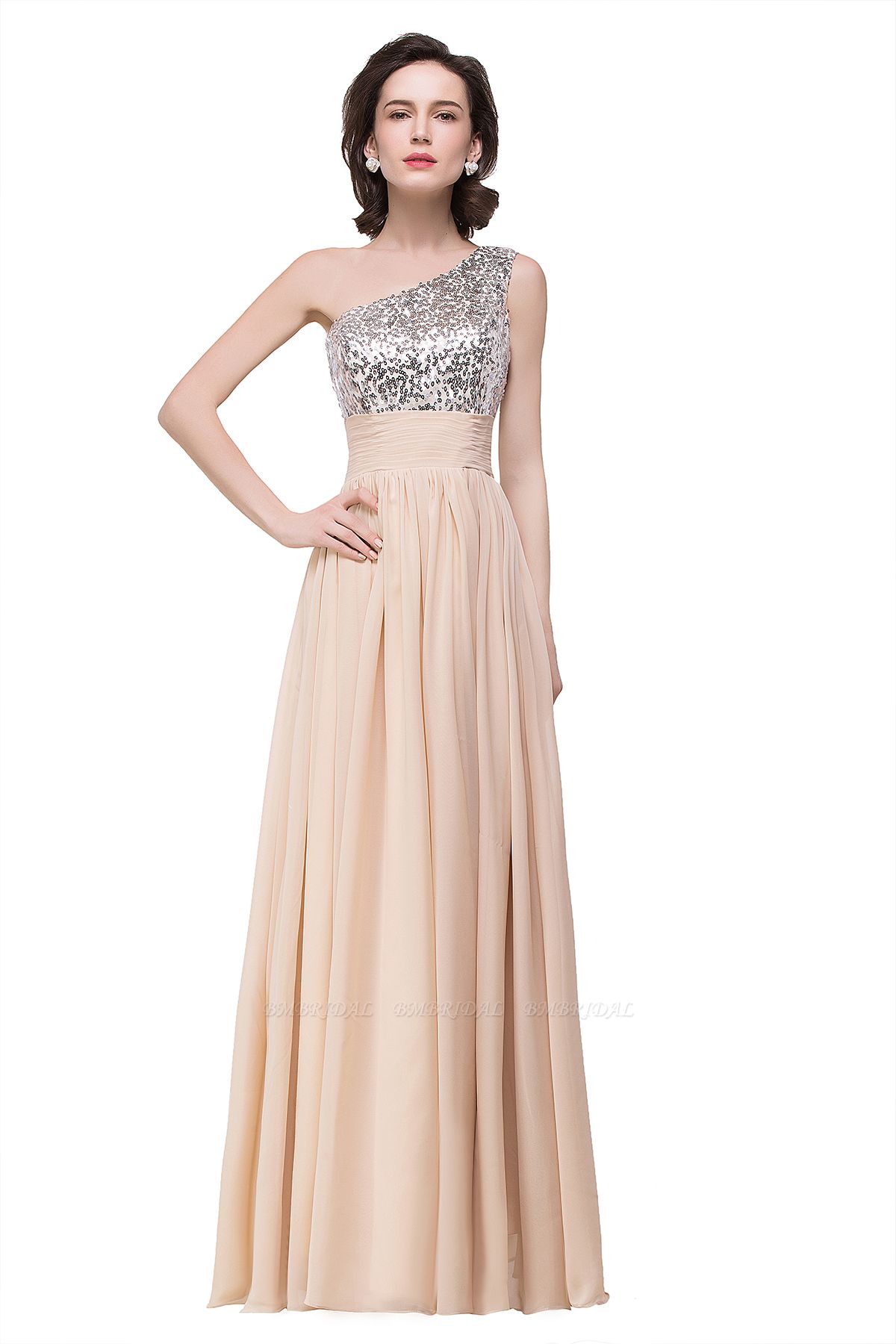 BMbridal A-line Floor-length Chiffon Evening Dress with Sequined