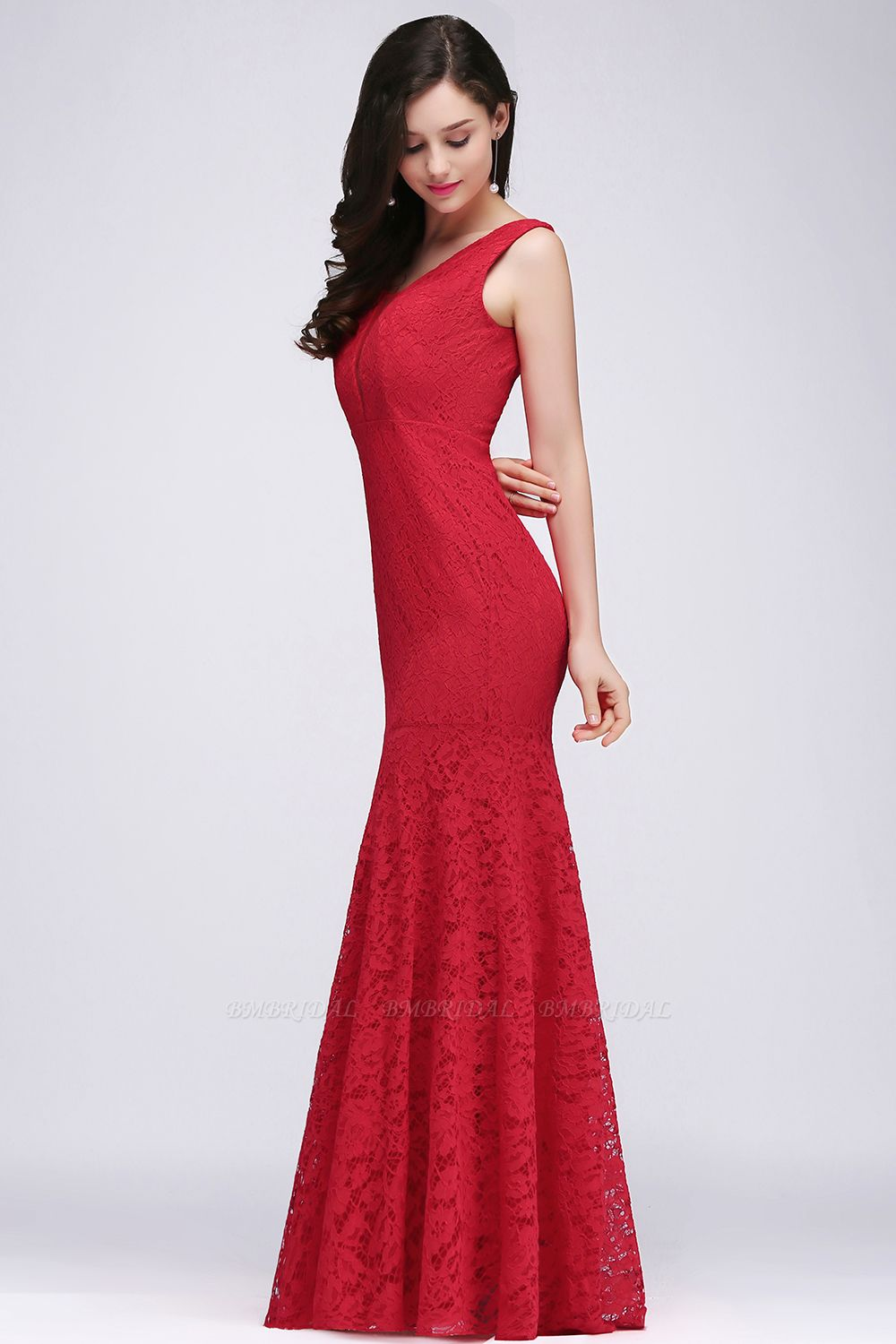 BMbridal Stunning Short Red Lace Mermaid Prom Dress