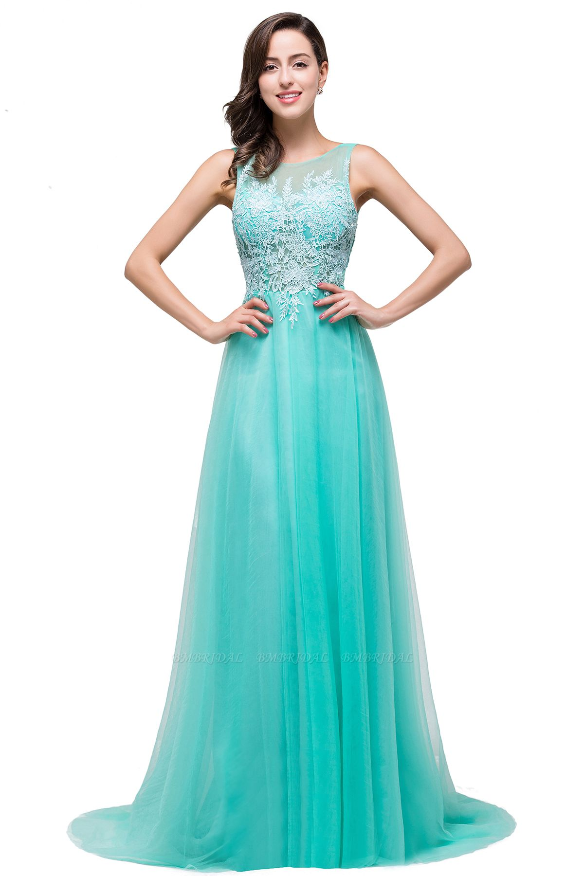 BMbridal A-line Court Train Tulle Evening Dress with Appliques