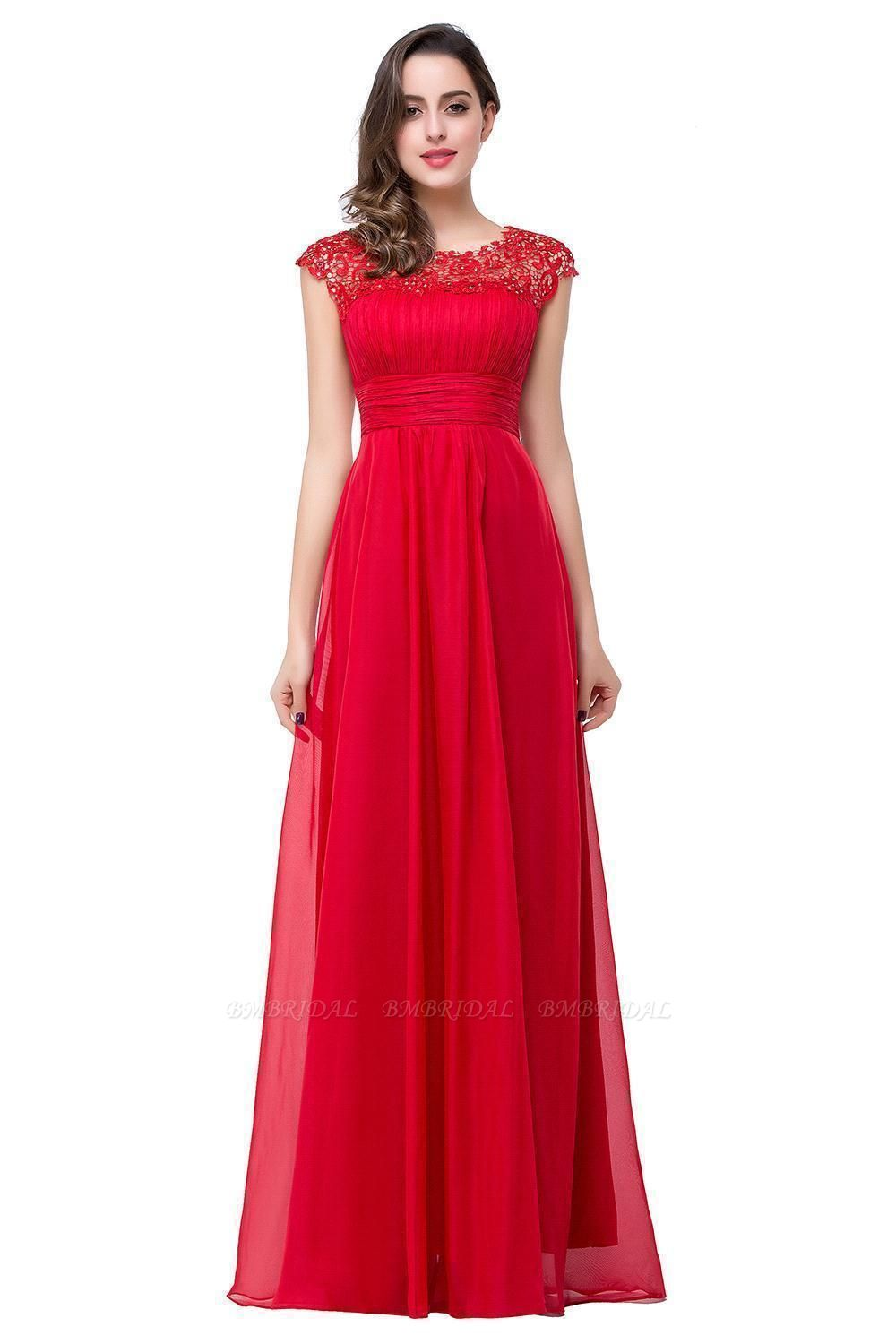 Affordable A-Line Jewel Red Chiffon Lace Bridesmaid Dress In Stock