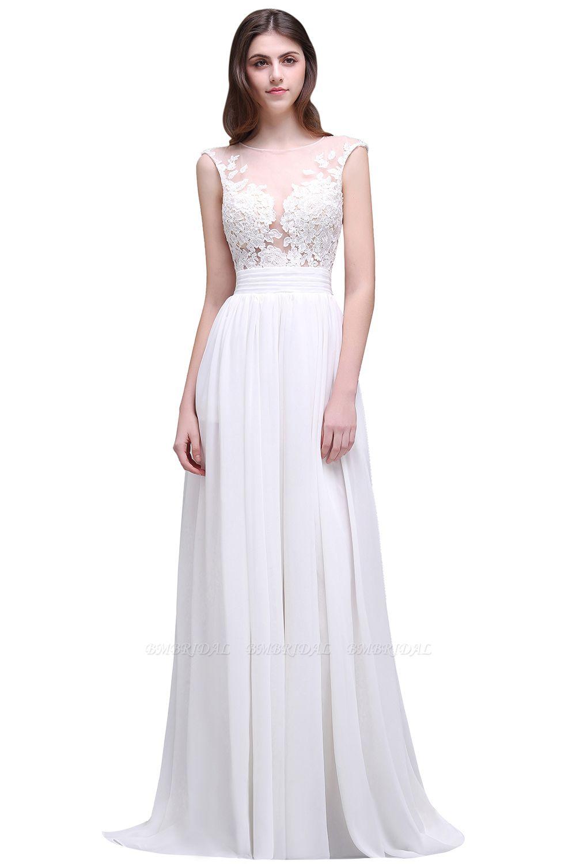 BMbridal Elegant White Sheer Lace Chiffon Beach Wedding Dress