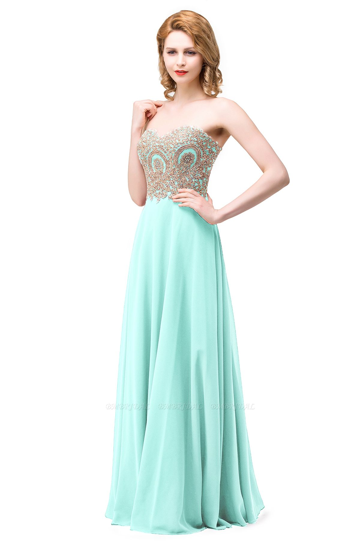 BMbridal Women's Strapless Embroidery Beaded Prom Formal Dress