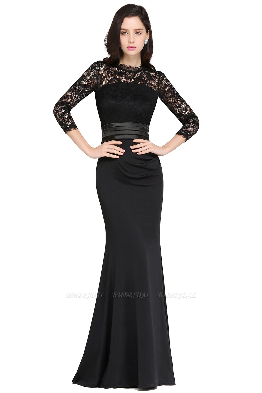BMbridal Chic Sheath High Neck Black Bridesmaid Dress with Lace In Stock