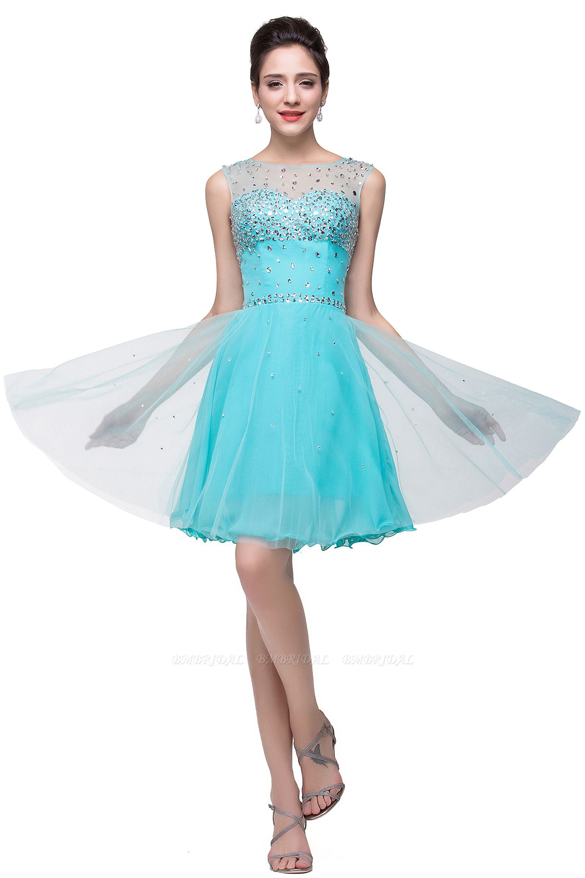 BMbridal Open Back Sleeveless Chiffon Homecoming Dress Crystal Beads Tulle Short Prom Dress